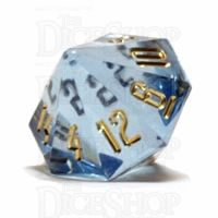 GameScience Gem Ice Blue Moonstone & Gold Ink D16 Dice