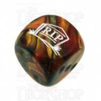 Chessex Lustrous Gold RIP Logo D6 Spot Dice