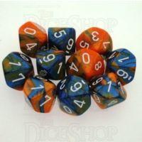 Chessex Gemini Blue & Orange 10 x D10 Dice Set