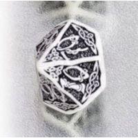 Q Workshop Celtic 3D White & Black Percentile Dice