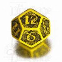 Q Workshop Celtic 3D Yellow & Black D12 Dice