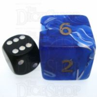D&G Marble Blue & White JUMBO 34mm D6 Dice