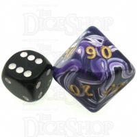 D&G Marble Purple & White JUMBO 34mm Percentile Dice