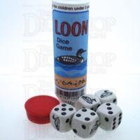 Koplow White & Black Loon Duck 5 x D6 Spot Dice Game