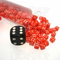 Koplow Opaque Red & White MINI 5mm 200 x D6 Spot Dice Set