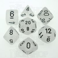 Chessex Frosted Clear & Black 7 Dice Polyset