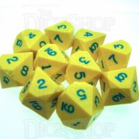 GameScience Opaque Saffron Yellow & Blue Ink 10 x D10 Dice Set