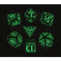 Q Workshop Steampunk Black & Glow in the Dark 7 Dice Polyset