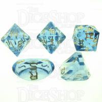 GameScience Gem Ice Blue Moonstone & Gold Ink Zocchi D3 D5 D14 D16 D24 Dice Set
