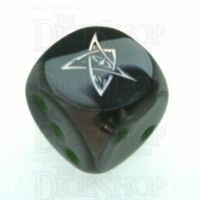 Chessex Gemini Black & Grey ELDER SIGN Logo D6 Spot Dice