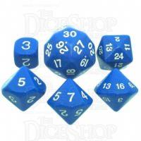 Koplow Opaque Blue & White Who Knew? D3 D5 D7 D16 D24 D30 Dice Set