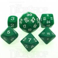 Koplow Opaque Green & White Who Knew? D3 D5 D7 D16 D24 D30 Dice Set
