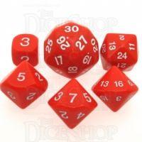 Koplow Opaque Red & White Who Knew? D3 D5 D7 D16 D24 D30 Dice Set