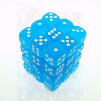 Chessex Frosted Caribbean Blue & White 36 x D6 Dice Set