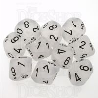 Chessex Frosted Clear & Black 10 x D10 Dice Set