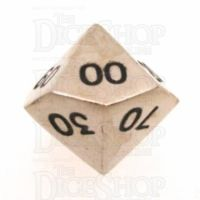 TDSO Metal Polished Silver Finish Percentile Dice