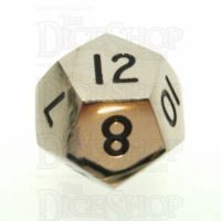 TDSO Metal Polished Silver Finish D12 Dice