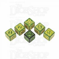 Q Workshop Hordes Circle of Orboros Faction Green & Yellow 6 x D6 Dice Set - Discontinued