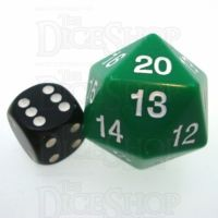 Koplow Opaque Green & White JUMBO 30mm Countdown D20 Dice