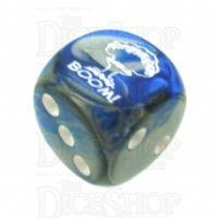 Chessex Gemini Blue & Steel BOOM Logo D6 Spot Dice