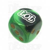 Chessex Gemini Black & Green LOL Logo D6 Spot Dice