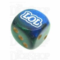 Chessex Gemini Blue & Green LOL Logo D6 Spot Dice