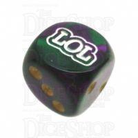 Chessex Gemini Green & Purple LOL Logo D6 Spot Dice