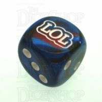 Chessex Gemini Blue & Red with White LOL Logo D6 Spot Dice