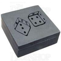 Lucky Black Stone Velvet Lined Dice Box