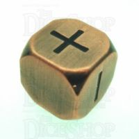 TDSO Metal Antique Copper Finish Fudge Fate D6 Dice