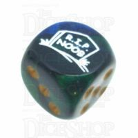 Chessex Gemini Blue & Green RIP NOOB Logo D6 Spot Dice