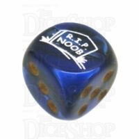 Chessex Gemini Black & Blue RIP NOOB Logo D6 Spot Dice