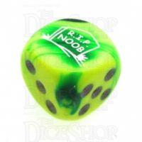 Chessex Gemini Green & Yellow RIP NOOB Logo D6 Spot Dice