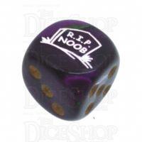 Chessex Gemini Green & Purple RIP NOOB Logo D6 Spot Dice