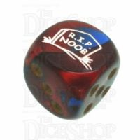 Chessex Gemini Blue & Red with Gold RIP NOOB Logo D6 Spot Dice