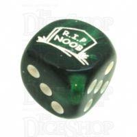 Chessex Gemini Green RIP NOOB Logo D6 Spot Dice