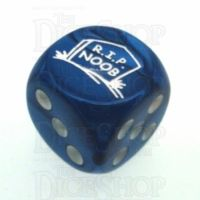 Chessex Gemini Blue RIP NOOB Logo D6 Spot Dice