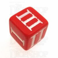 Impact Opaque Red & White Roman Numeral D3 Dice