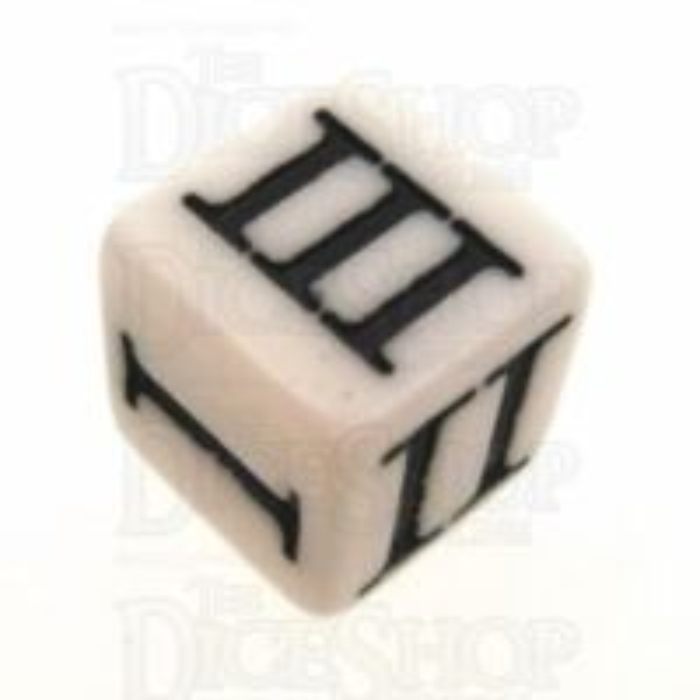 Impact Opaque White & Black Roman Numeral D3 Dice