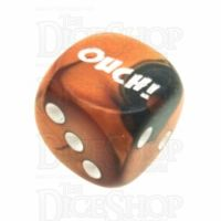 Chessex Gemini Black & Copper OUCH! Logo D6 Spot Dice