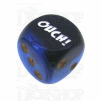 Chessex Gemini Black & Blue OUCH! Logo D6 Spot Dice