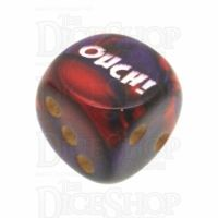 Chessex Gemini Purple & Red OUCH! Logo D6 Spot Dice