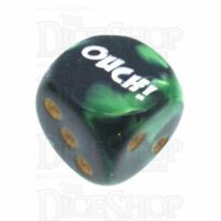 Chessex Gemini Black & Green OUCH! Logo D6 Spot Dice