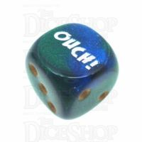 Chessex Gemini Blue & Green OUCH! Logo D6 Spot Dice