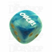 Chessex Phantom Teal OUCH! Logo D6 Spot Dice