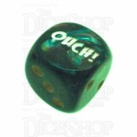 Chessex Lustrous Shadow OUCH! Logo D6 Spot Dice