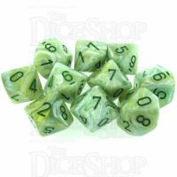 Chessex Marble Green 10 x D10 Dice Set