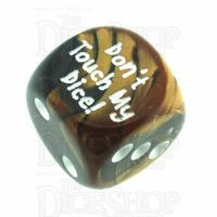 Chessex Gemini Black & Copper Don't Touch My Dice! Logo D6 Spot Dice