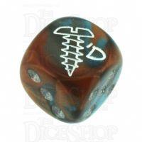 Chessex Gemini Copper & Teal SCREWED Logo D6 Spot Dice