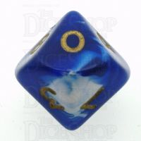 D&G Marble Blue & White D10 Dice
